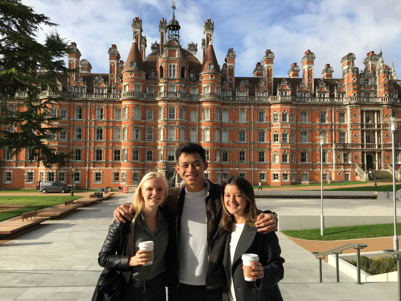 Hannah Gintberg Dees (Drama major), Luke Morris (International Studies), and Tori Thibault (Psychology) at Royal Holloway University of London